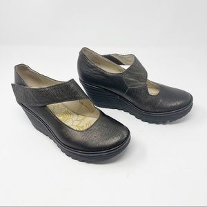 Fly London Yasi Mary Jane Leather Wedge Shoes